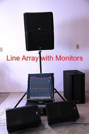 Powered Line Array System with QSC K10 Stage Monitors