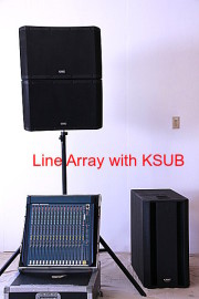 Powered Line Array System with QSC KSUB Subwoofer